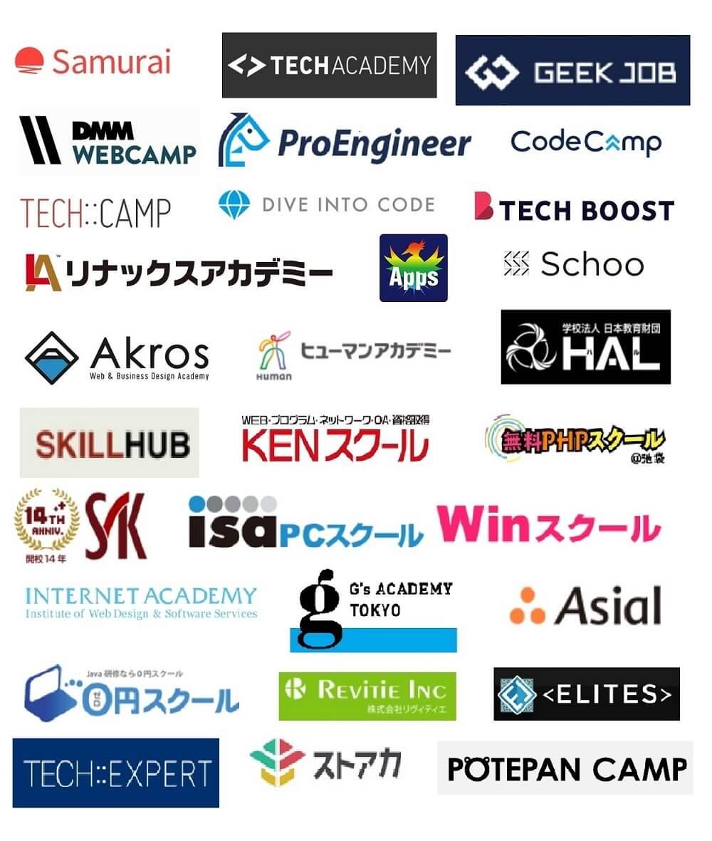 侍エンジニア塾 ProEngineer(プロエンジニア) TECH BOOST(テックブースト) TechAcademy(テックアカデミー) WebCamp PRO TECH::CAMP WebCamp(ウェブキャンプ) GEEK JOBキャンプ CodeCamp(コードキャンプ) Web塾超現場主義 リナックスアカデミー ヒューマンアカデミー HAL(ハル) RainbowApps Schoo(スクー) KENスクール Skillhub(スキルハブ) 無料PHPスクール システムアーキテクチュアナレッジ ISA PCスクール Winスクール インターネットアカデミー ジーズアカデミー Asial(アシアル) 0円スクール イデアルITスクール 無料JAVAスクール! ELITES(エリーツ) ストリートアカデミー TECH::EXPERT POTEPAN CAMP(ポテパンキャンプ)